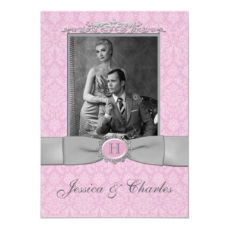 Vintage Pink, Gray Damask Scrolls Photo Wedding Card