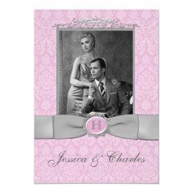Vintage Pink, Gray Damask Scrolls Photo Wedding 5x7 Paper Invitation Card
