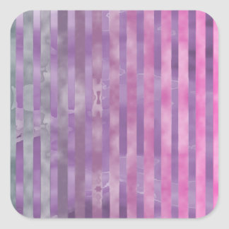 Vintage Pink Gray Stripes Square Sticker