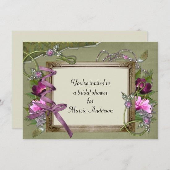 Vintage Pink Green Bridal Shower Invite