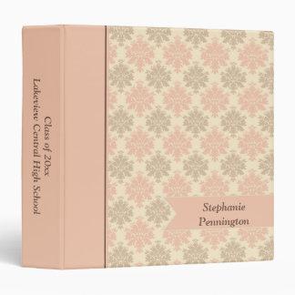 Vintage pink green damask graduation memory binder