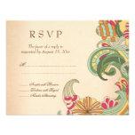 Vintage pink green floral swirl wedding RSVP card