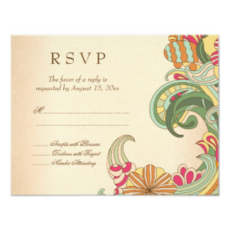 Vintage pink green floral swirl wedding RSVP card Personalized Invitations