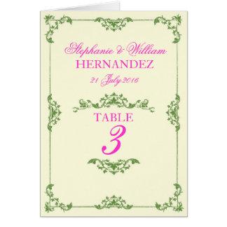Vintage Pink Green Floral Wedding Table Number Stationery Note Card