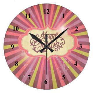 Vintage Pink, Green & Purple Christmas Design Large Clock