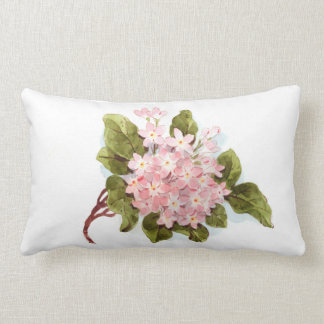 Vintage pink green watercolor hydrangea floral pillow