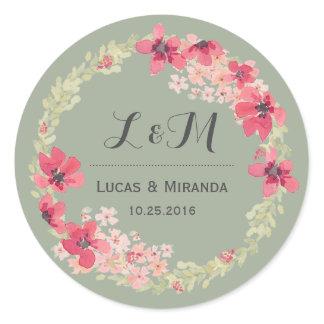 Vintage Pink Grey Floral Wreath Wedding Sticker