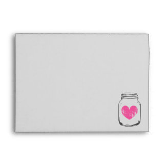 Vintage pink heart grey mason jar wedding envelope
