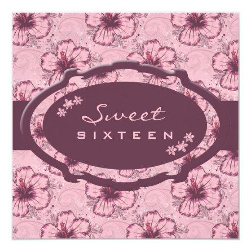 "Vintage Pink Hibiscus 5.25"" Square Invitation Card"