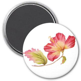Vintage Pink Hibiscus Flower Magnet