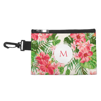 Vintage Pink Hibiscus Flower Monogram Clip-on Bag