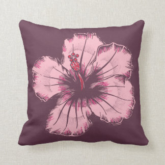 Vintage Pink Hibiscus Pillow