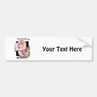 Vintage Pink Hollyhock Seed Packet Car Bumper Sticker