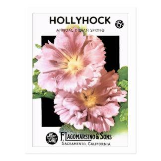 Vintage Pink Hollyhock Seed Packet Postcard