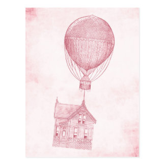 Vintage Pink Hot Air Balloon Moving Cottage Postcard