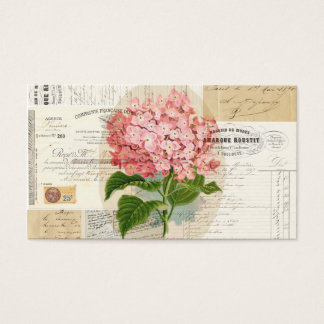 Vintage Pink Hydrangea French Ephemera Business Ca Business Card