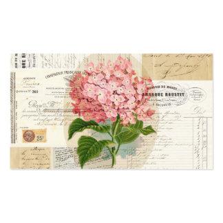 Vintage Pink Hydrangea French Ephemera Business Ca Business Card
