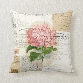 Vintage Pink Hydrangea French Ephemera Pillow