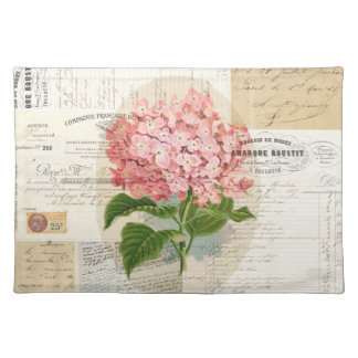 Vintage Pink Hydrangea French Ephemera Placemat Cloth Place Mat