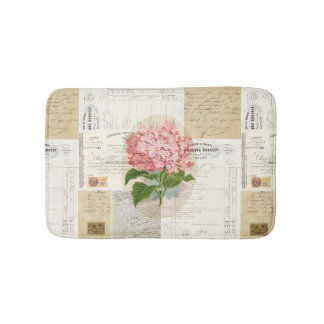 Vintage Pink Hydrangea French Ephemera Rug Bath Mats