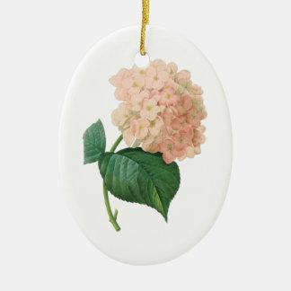 Vintage Pink Hydrangea Hortensia Flower by Redoute Ceramic Ornament