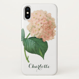 Vintage Pink Hydrangea Hortensia Flower by Redoute iPhone X Case