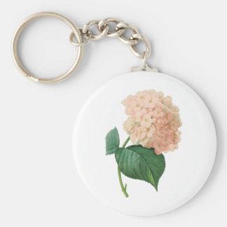 Vintage Pink Hydrangea Hortensia Flower by Redoute Keychain