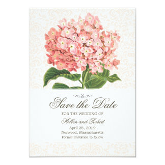 Vintage Pink Hydrangea Save The Date Card