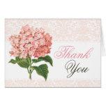 Vintage Pink Hydrangea Thank You Card