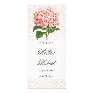 Vintage Pink Hydrangea Wedding Ceremony Program Rack Card