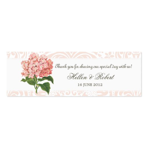 Vintage Pink Hydrangea Wedding Favor Tag Business Card
