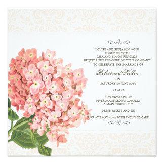 Vintage Pink Hydrangea Wedding Invitation