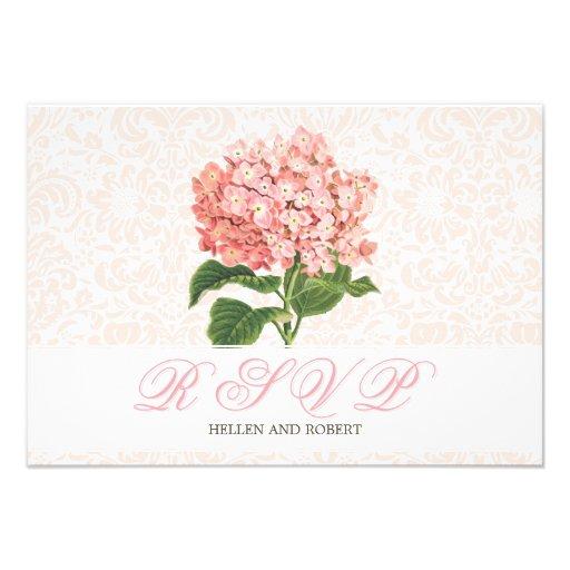 Vintage Pink Hydrangea Wedding RSVP Card Announcement