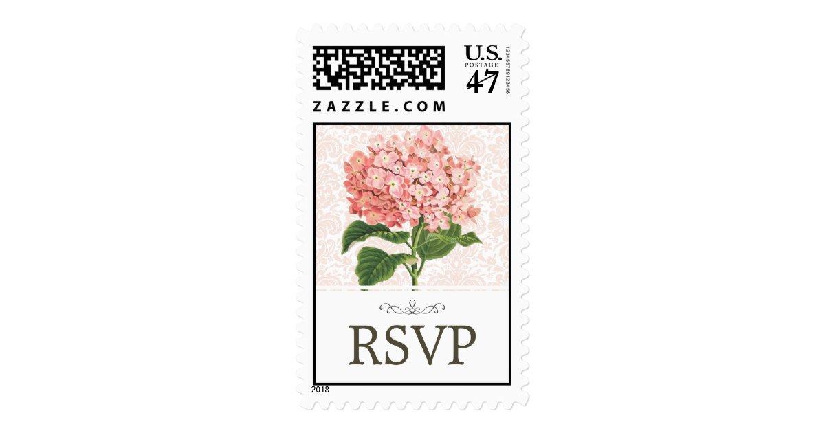 Vintage pink hydrangea wedding rsvp postage stamp zazzle for Wedding rsvp cards stamps