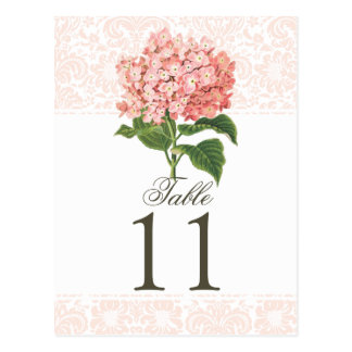 Vintage Pink Hydrangea Wedding Table Number Post Card