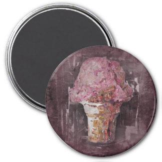 Vintage Pink Ice Cream 3 Inch Round Magnet
