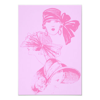 Vintage Pink Ladies Blank Flapper Hat Invitation
