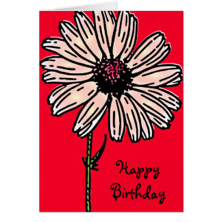 Vintage pink large daisy flower on crimson red card