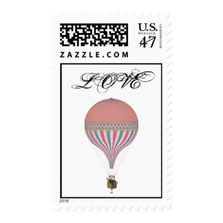 Vintage Pink, Light Blue Hot Air Balloons Postage