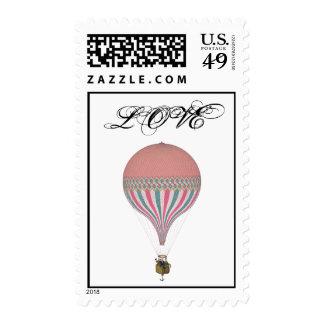 Vintage Pink, Light Blue Hot Air Balloons Stamp