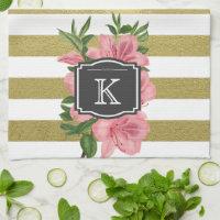 Vintage Pink Lilies and Stripes Monogram Initial Towel