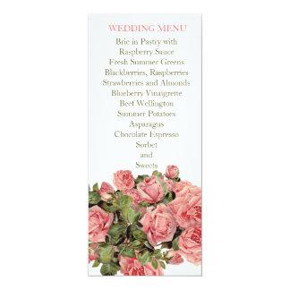 Vintage Pink Magic Roses Wedding Menu Custom Announcements