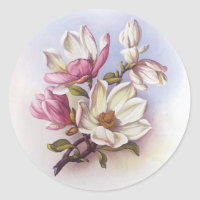 Vintage Pink Magnolia Retro Botanical Stickers