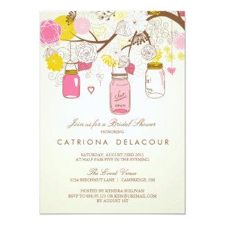 Vintage Pink Mason Jars Bridal Shower Invitation