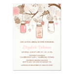 "Vintage Pink Mason Jars Bridal Shower Invitation 5"" X 7"" Invitation Card"