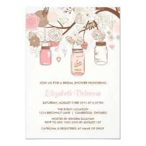 Vintage Pink Mason Jars Bridal Shower Invitation 5