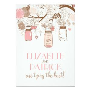 Vintage Pink Mason Jars Floral Wedding Invitation 5