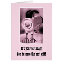Vintage Pink Mixer Happy Birthday Humor Card