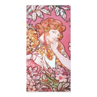 Vintage Pink Mucha Art Card