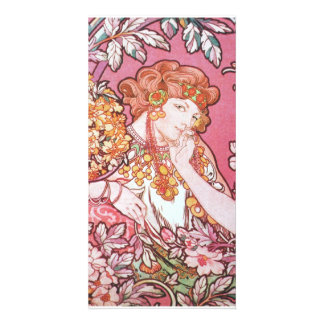 Vintage Pink Mucha Art Customized Photo Card